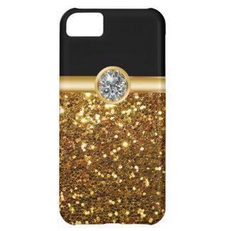 Casos del iPhone 5C del monograma del oro