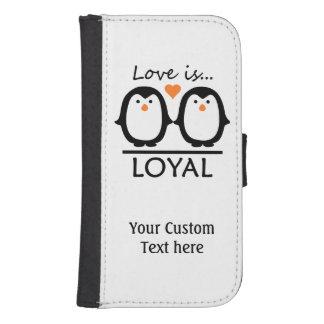 Casos del personalizado del amor del pingüino fundas billetera de galaxy s4