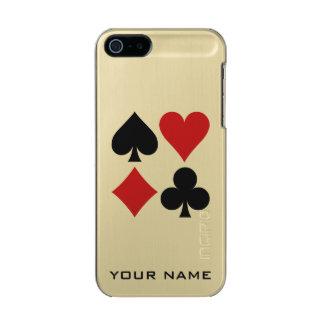 Casos del personalizado del jugador de tarjeta carcasa de iphone 5 incipio feather shine