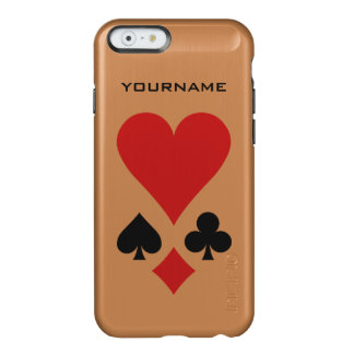 Casos del personalizado del jugador de tarjeta funda para iPhone 6 plus incipio feather shine