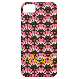 Casos en abanico del modelo del rosa y del negro iPhone 5 Case-Mate cárcasas
