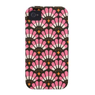 Casos en abanico del modelo del rosa y del negro vibe iPhone 4 carcasa
