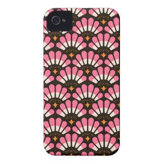 Casos en abanico del modelo del rosa y del negro iPhone 4 Case-Mate carcasa