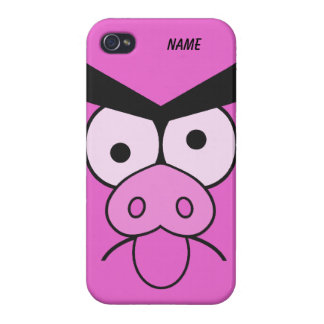 Casos enojados del personalizado del cerdo iPhone 4 carcasa