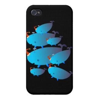 Casos lindos 001 de Iphone Familia de la ballena iPhone 4 Carcasa