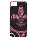 Casos rosados del iPhone de la flor de lis