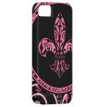 Casos rosados del iPhone de la flor de lis iPhone 5 Case-Mate Cobertura