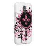 Casos rosados del iPhone de la flor de lis Funda De Galaxy S5