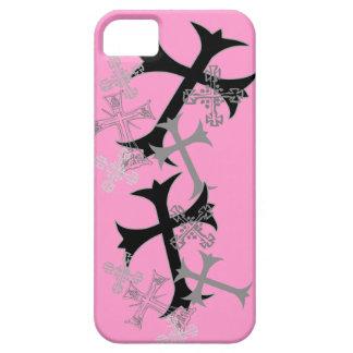 Casos rosados gráficos cruzados del iPhone iPhone 5 Protector