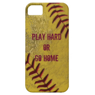 Casos sucios del iPhone del softball con SU TEXTO iPhone 5 Protectores