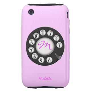 Casos temáticos rotatorios rosados retros de carcasa though para iPhone 3