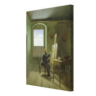 Caspar David Friedrich  in his studio, 1811 Canvas Print