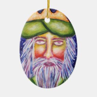 """Caspar"" Three Kings Christmas Art Double-Sided Oval Ceramic Christmas Ornament"