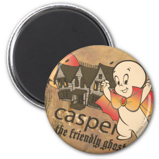Casper and Haunted House 2 Inch Round Magnet