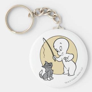 Casper and Kitten Basic Round Button Keychain