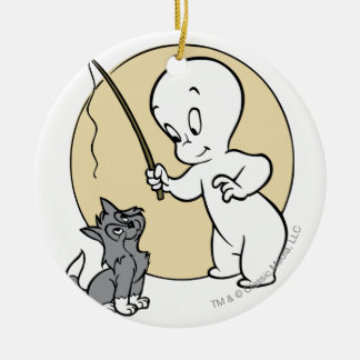 Casper and Kitten Double-Sided Ceramic Round Christmas Ornament