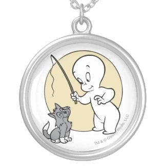 Casper and Kitten Round Pendant Necklace