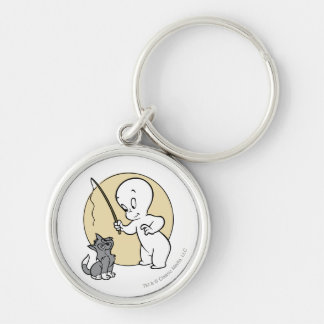 Casper and Kitten Silver-Colored Round Keychain