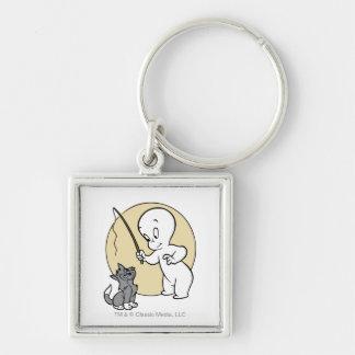 Casper and Kitten Silver-Colored Square Keychain