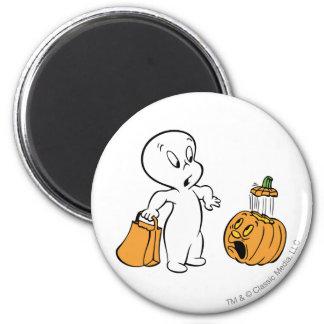 Casper and Pumpkin 2 2 Inch Round Magnet