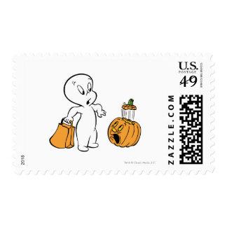 Casper and Pumpkin 2 Postage Stamps