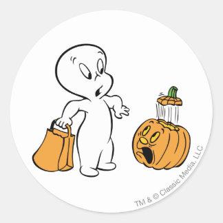 Casper and Pumpkin 2 Round Stickers