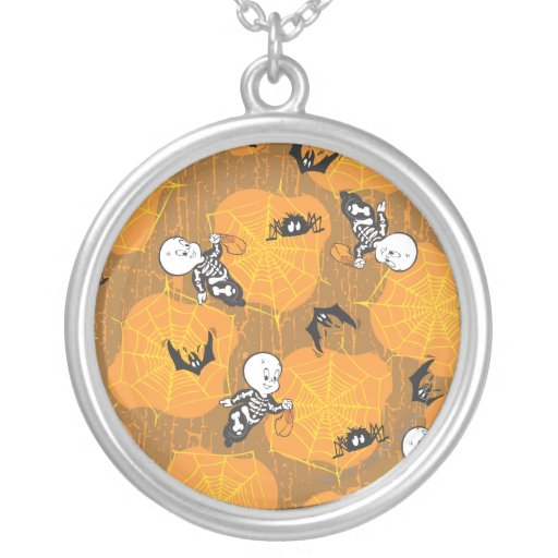 Casper and Spider Webs Round Pendant Necklace