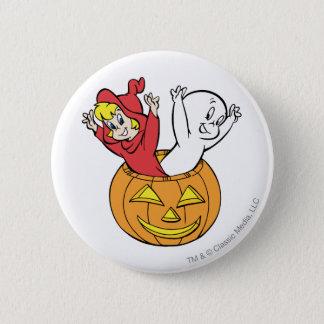 Casper and Wendy in Pumpkin Button