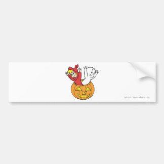 Casper and Wendy in Pumpkin Car Bumper Sticker