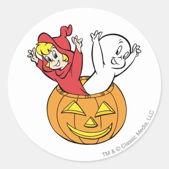 Casper and Wendy in Pumpkin Classic Round Sticker