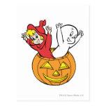 Casper and Wendy in Pumpkin Post Card