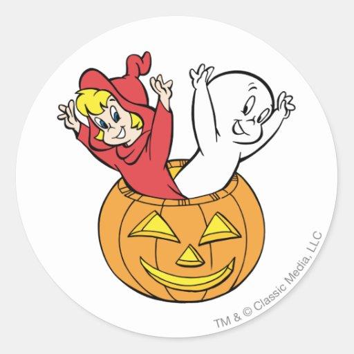 Casper and Wendy in Pumpkin Round Stickers