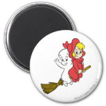 Casper and Wendy Riding Broom 2 Inch Round Magnet