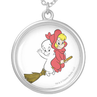 Casper and Wendy Riding Broom Silver Plated Necklace