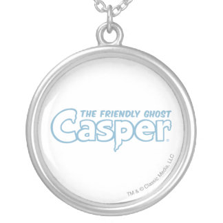 Casper Blue Outline Logo Silver Plated Necklace