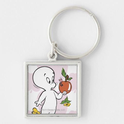 Casper Boo-ty-licious Silver-Colored Square Keychain