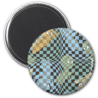 Casper Checkered Pattern 2 Inch Round Magnet