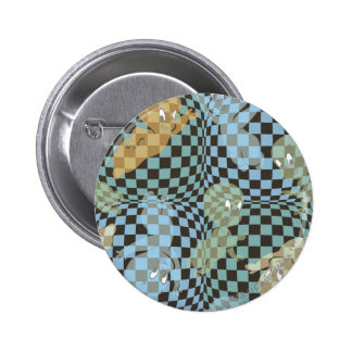 Casper Checkered Pattern Pinback Button