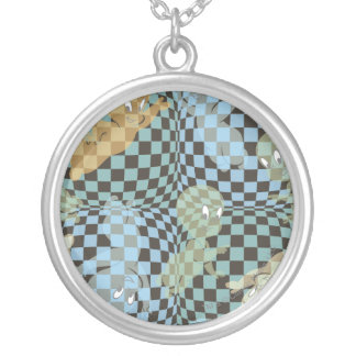 Casper Checkered Pattern Silver Plated Necklace