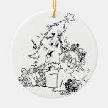 Casper Christmas Tree Double-Sided Ceramic Round Christmas Ornament