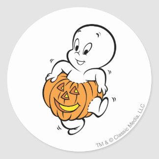 Casper Dancing in Pumpkin Classic Round Sticker