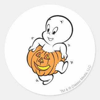 Casper Dancing in Pumpkin Round Stickers