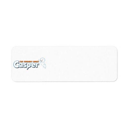Casper el logotipo amistoso 1 del fantasma etiquetas de remite