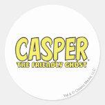 Casper el logotipo amistoso del amarillo del etiqueta redonda