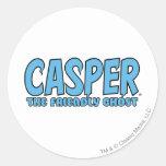 Casper el logotipo azul 1 del fantasma amistoso pegatina redonda