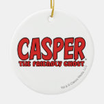 Casper el logotipo rojo 1 del fantasma amistoso adorno navideño redondo de cerámica