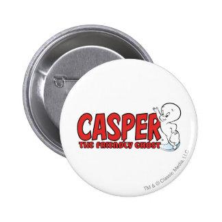 Casper el logotipo rojo 2 del fantasma amistoso pin redondo de 2 pulgadas