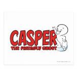 Casper el logotipo rojo 2 del fantasma amistoso tarjetas postales