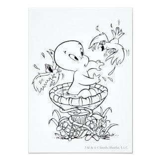 """Casper en baño del pájaro invitación 5"""" x 7"""""""