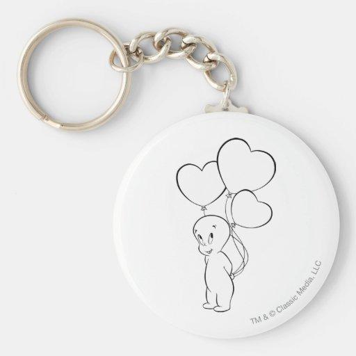 Casper Heart Balloons Basic Round Button Keychain